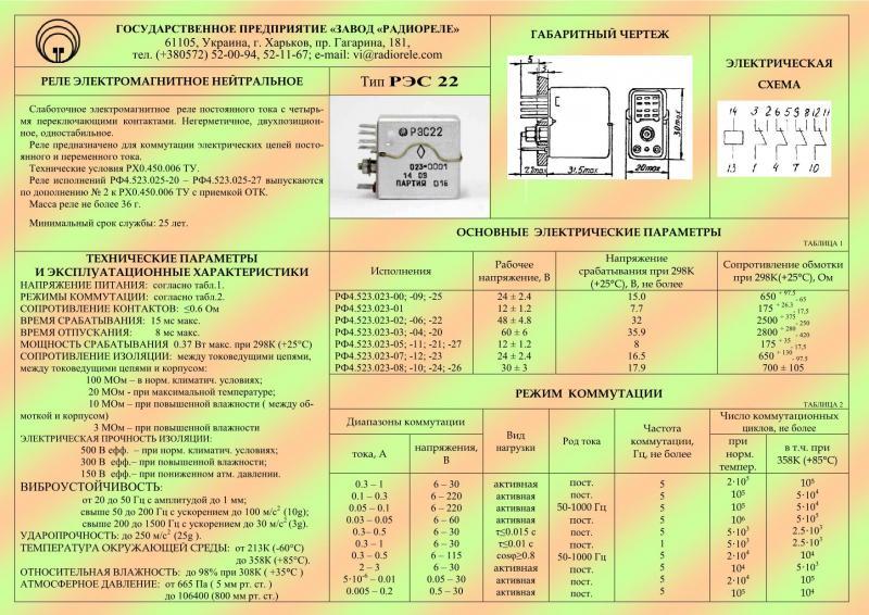 Реле электромагнитное слаботочное типа РЭС22 РХО.450.006 ТУ