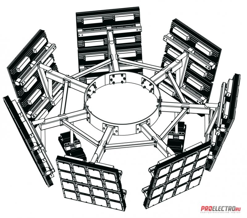 Установка осветительная высокомачтовая Диора Корона ВОУ-30 (7 лучей х 2)