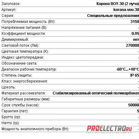 Установка осветительная высокомачтовая Диора Корона ВОУ-30 (2 луча)