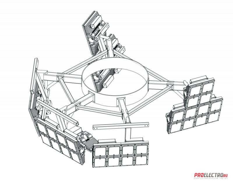 Установка осветительная высокомачтовая Диора Корона ВОУ-30 (5 лучей)