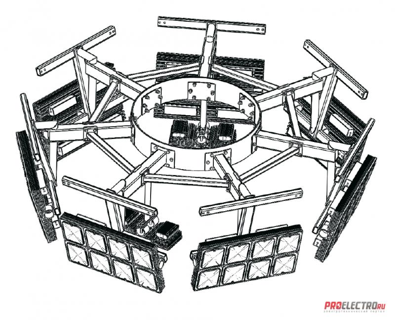 Установка осветительная высокомачтовая Диора Корона ВОУ-30 (7 лучей)
