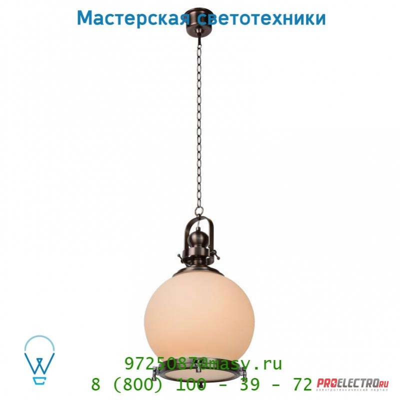 Lucide OLD BALLUX Hangel. E27 D33cm Opaal Glas/Ant Silber 31474/35/16 подвесной светильник