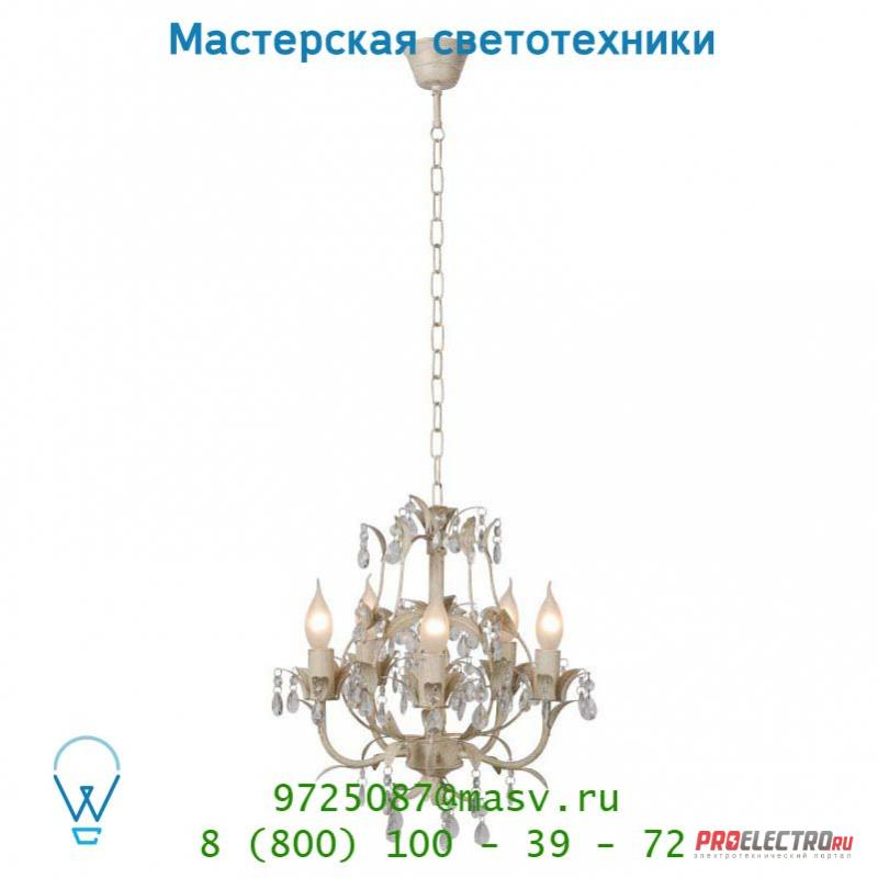 Lucide DROME Krone 5xE14 Tranp Glas/Ant Weiss подвесной светильник 78355/05/21