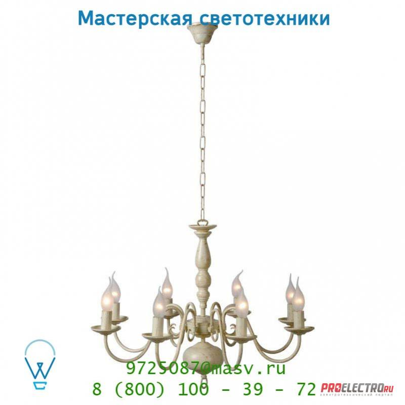 Подвесной светильник Lucide BARROCCO Krone 8xE14 Ø65 H110cm Ant Weiss 78362/08/21